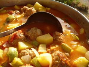 Albondigas (Meatball Soup) at FeshBitesDaily.com