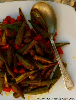 Spicy Indian Okra at FreshBitesDaily.com