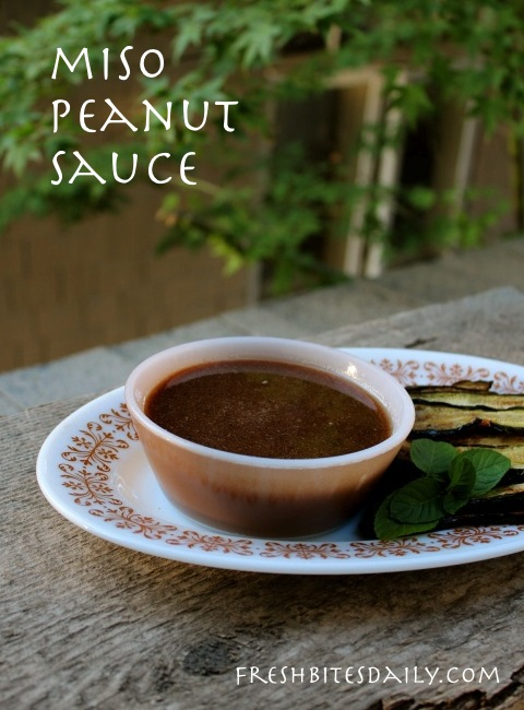 A miso peanut sauce, use as a dip, use as a dressing at FreshBitesDaily.com