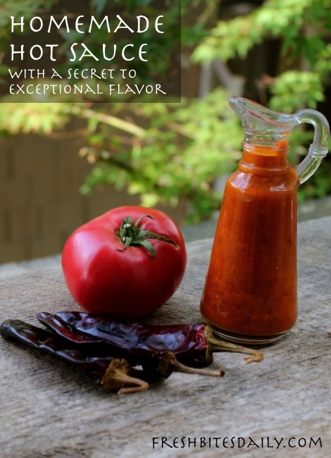 Homemade hot sauce with Pedro's secret flavoring tip for making it FANTASTIC