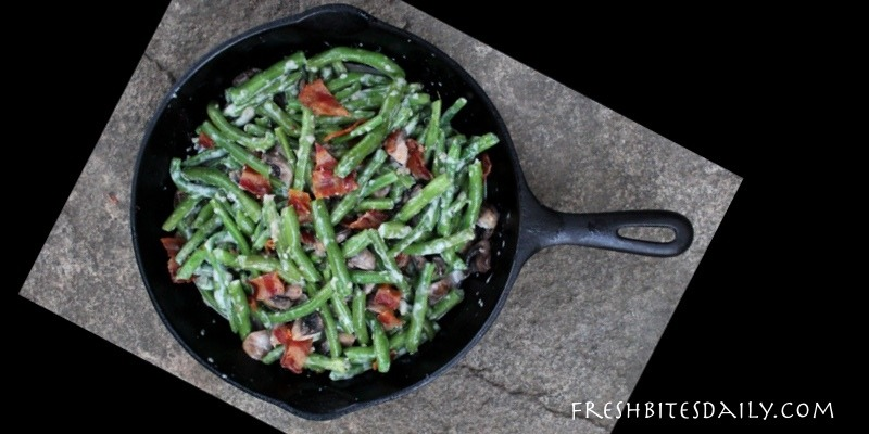 Creamy Green Beans with Mushrooms and Bacon