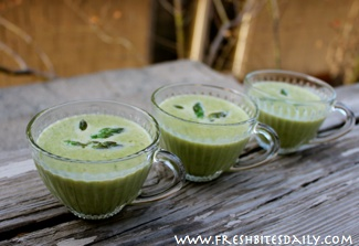 Emeril's asparagus soup (almost) with a great technique