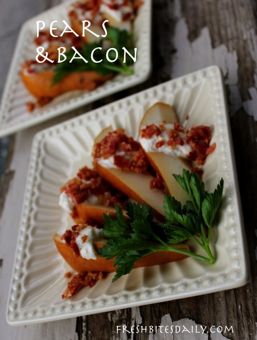 Fresh pear with bacon-topped cheese dip