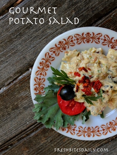 Gourmet potato salad with sun-dried tomatoes, a memorable side dish