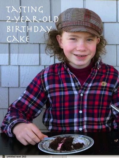 Kid tastes 2-year-old birthday cake
