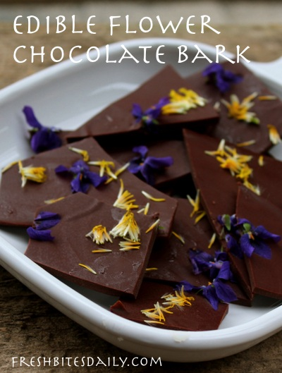 Edible flower chocolate bark