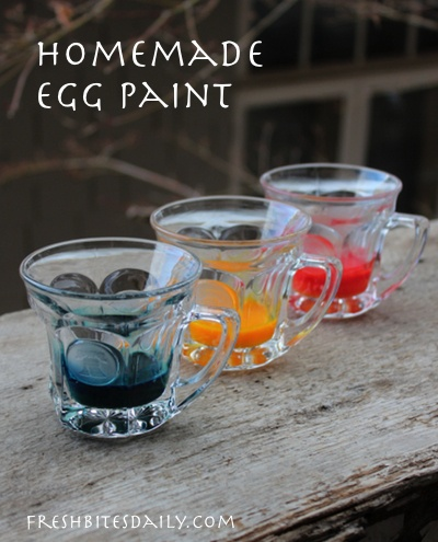 Homemade egg paint with two very simple ingredients